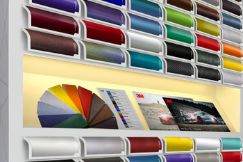 A close up shot of a 3M ColourBoard showcasing the wrap film range.jpg